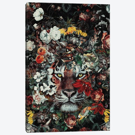 Flower Tiger Dark Canvas Print #PEK207} by Riza Peker Canvas Wall Art