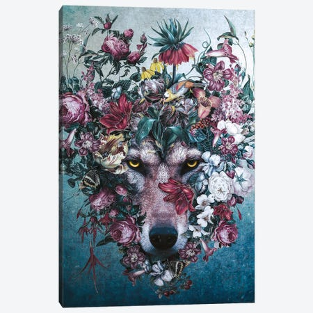 Flower Wolf II Canvas Print #PEK215} by Riza Peker Canvas Art Print