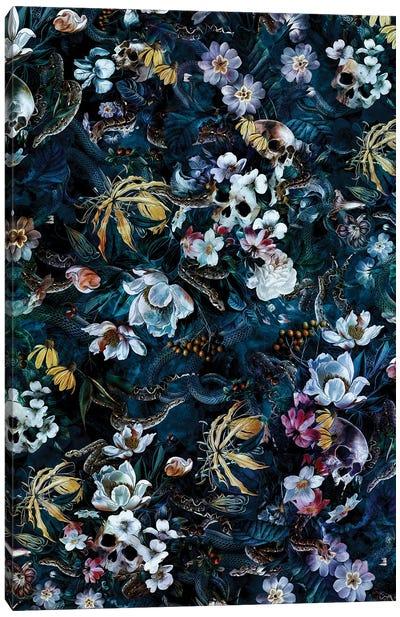 Skull Snake And Flowers Canvas Art Print