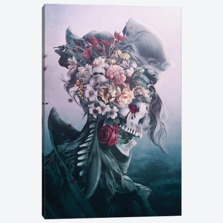 Surreal Skull On Blue Canvas Print #PEK228} by Riza Peker Canvas Print