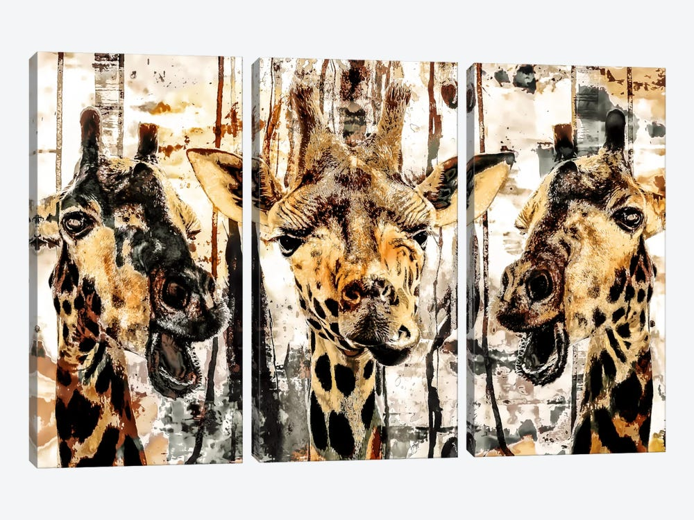 Giraffes by Riza Peker 3-piece Canvas Wall Art