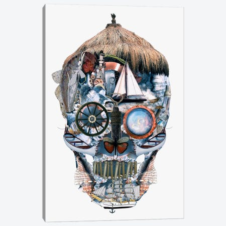 Oceanic Skull Canvas Print #PEK52} by Riza Peker Canvas Art Print