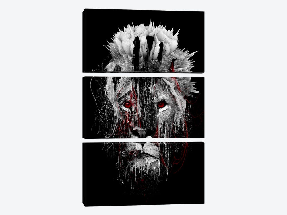 Red-Eyed Lion by Riza Peker 3-piece Canvas Artwork