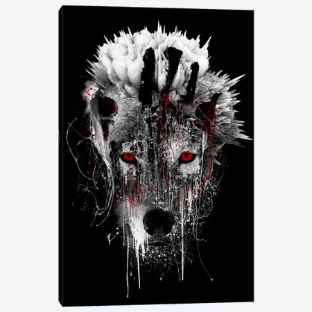 Red-Eyed Wolf Canvas Print #PEK58} by Riza Peker Canvas Art Print