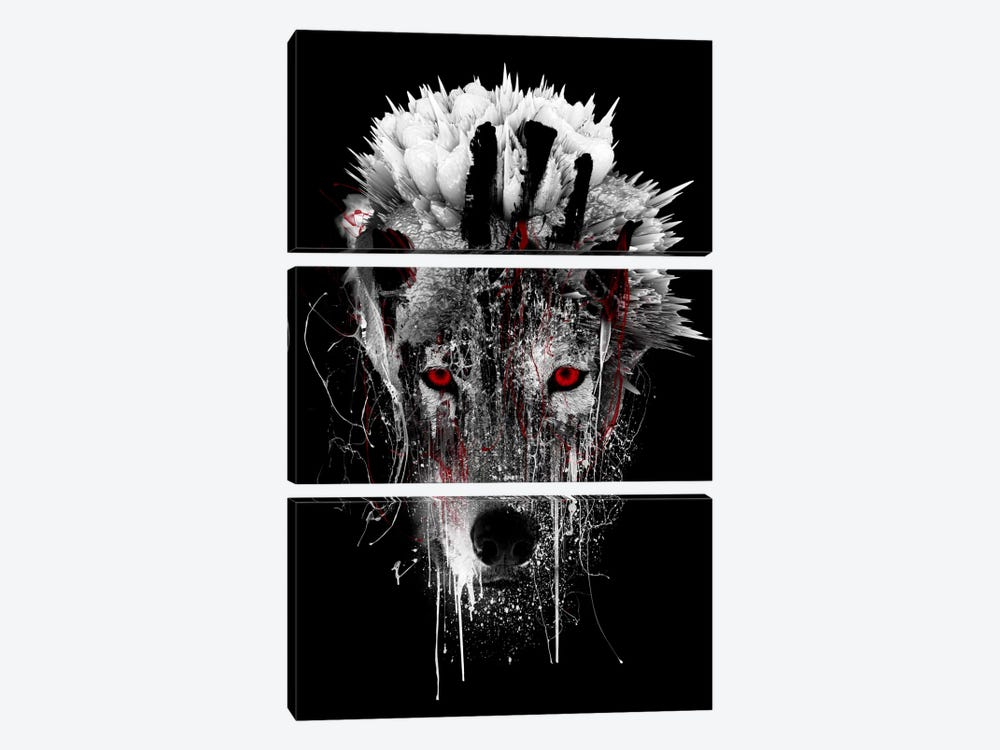 Red-Eyed Wolf by Riza Peker 3-piece Canvas Wall Art