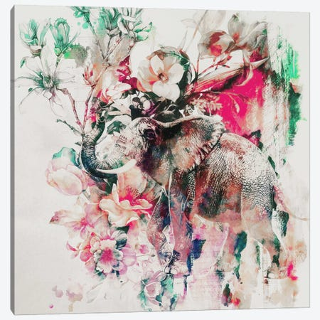 Watercolor Elephant And Flowers Canvas Print #PEK69} by Riza Peker Canvas Artwork