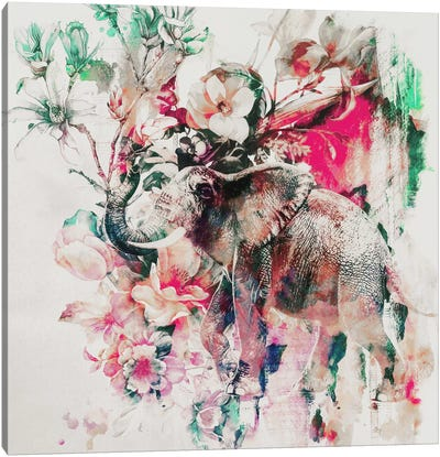 Watercolor Elephant And Flowers Canvas Print #PEK69