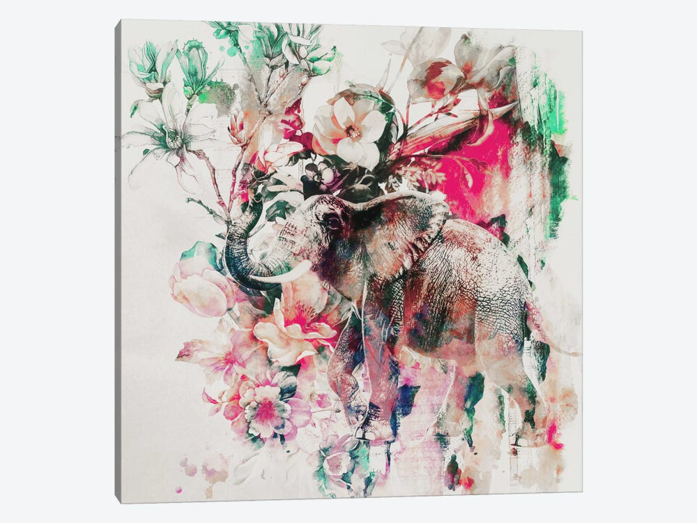 Watercolor Elephant And Flowers by Riza Peker 1-piece Canvas Artwork