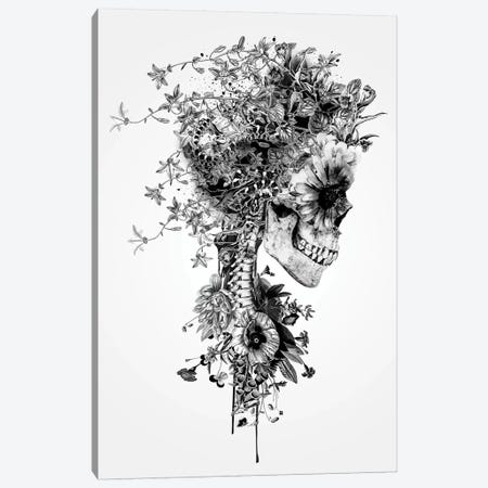 Skull B&W Canvas Print #PEK75} by Riza Peker Canvas Art