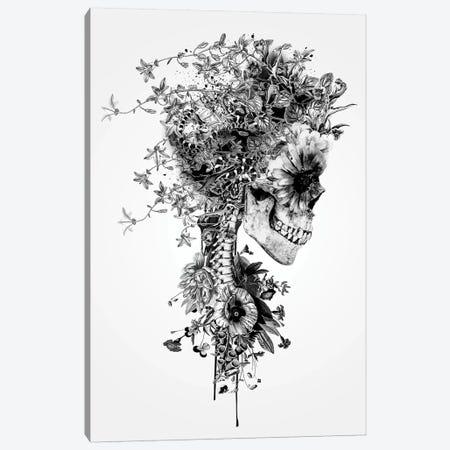 Skull B&W Canvas Print #PEK75} by Riza Peker Canvas Art