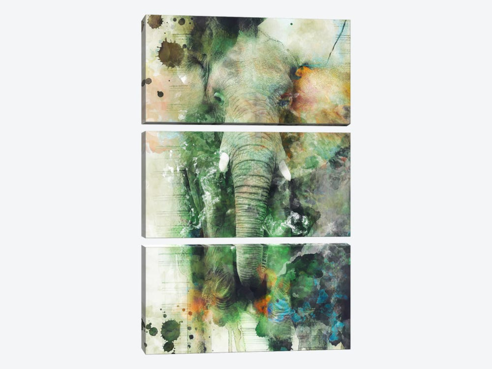 Elephant by Riza Peker 3-piece Canvas Art Print