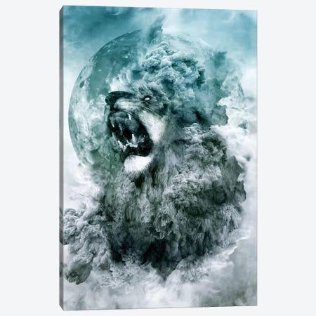 Lion Blue Canvas Print #PEK90} by Riza Peker Canvas Art Print