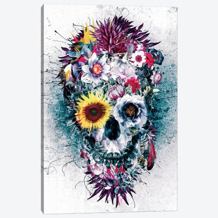 Skull Blue Canvas Print #PEK95} by Riza Peker Canvas Wall Art