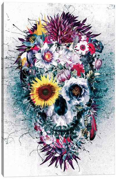 Skull Blue Canvas Art Print