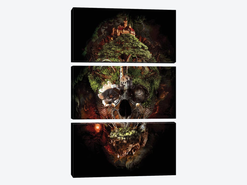 Skull Castle I by Riza Peker 3-piece Canvas Wall Art