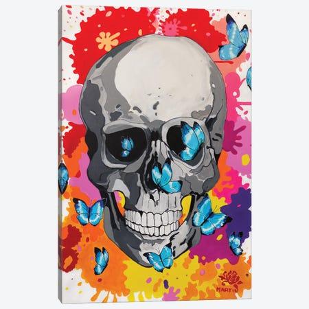 Skull And Butterflies Pop Art Canvas Print #PEM65} by Peter Martin Art Print