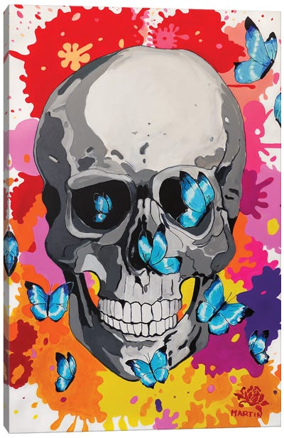 Skull And Butterflies Pop Art Canvas Art Print