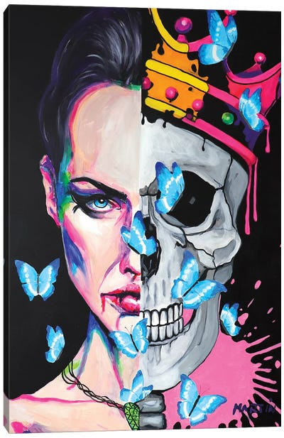 Love Skull And Butterfly Canvas Art Print