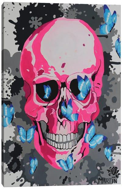 Pink Skull And Butterflies Canvas Art Print