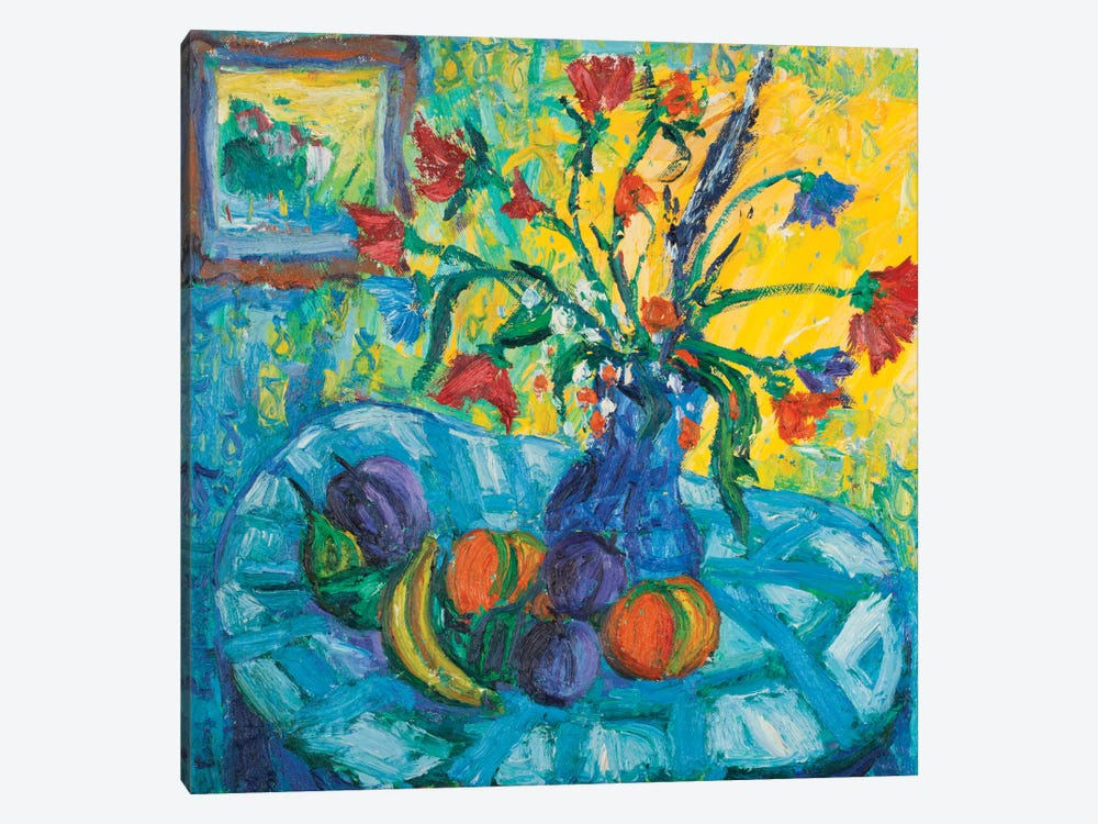 The Blue Tablecloth by Peris Carbonell 1-piece Canvas Wall Art