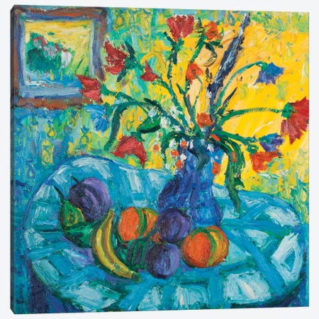 The Blue Tablecloth Canvas Print #PER26} by Peris Carbonell Canvas Wall Art