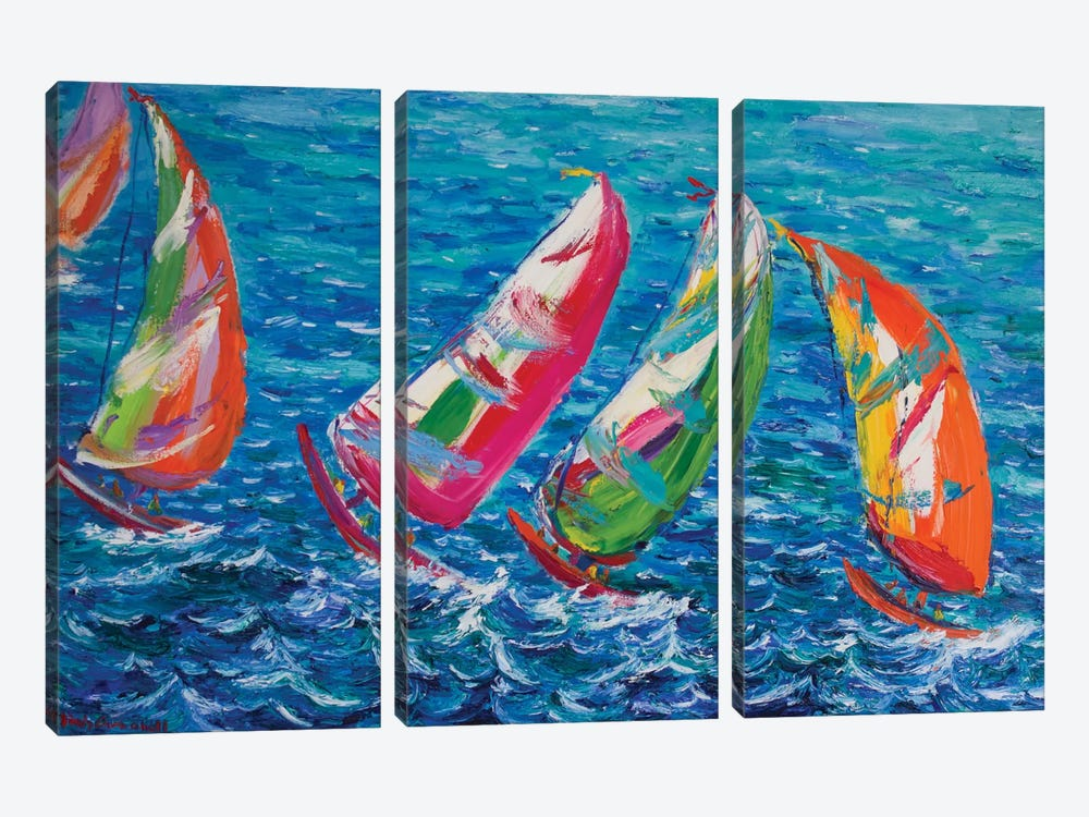 The America`s Cup, Vale by Peris Carbonell 3-piece Canvas Print