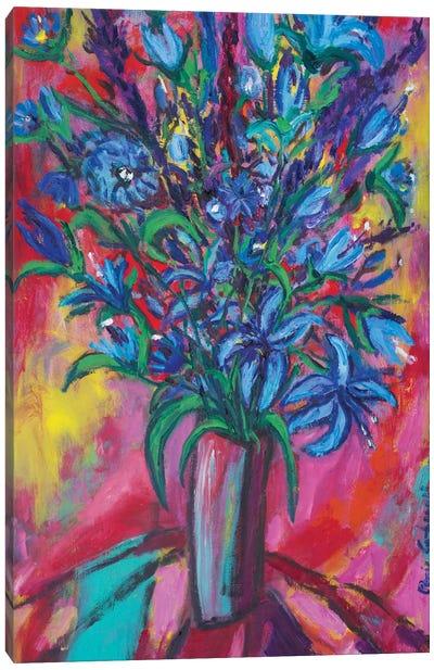 Blue Flowers Canvas Print #PER35