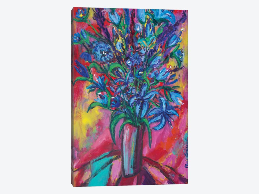 Blue Flowers by Peris Carbonell 1-piece Canvas Wall Art