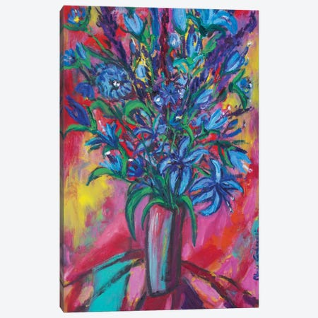 Blue Flowers Canvas Print #PER35} by Peris Carbonell Art Print