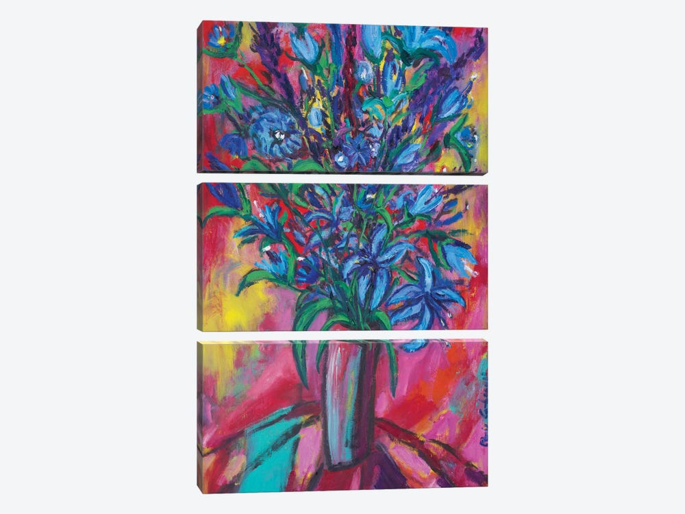 Blue Flowers by Peris Carbonell 3-piece Canvas Art