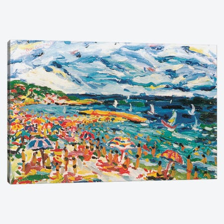 Bathers In The Beach Of Sete, France Canvas Print #PER3} by Peris Carbonell Canvas Art