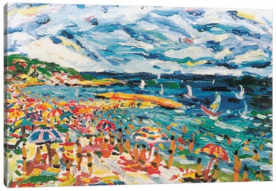 Bathers In The Beach Of Sete, France Canvas Art Print
