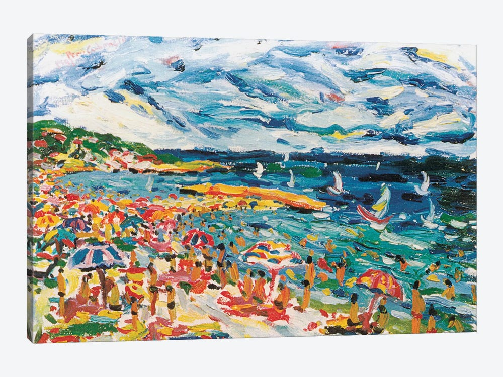 Bathers In The Beach Of Sete, France by Peris Carbonell 1-piece Canvas Artwork