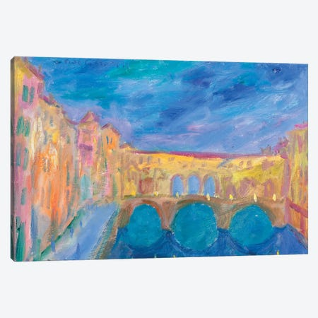 Evening In The Ponte Vecchio Canvas Print #PER42} by Peris Carbonell Canvas Art Print