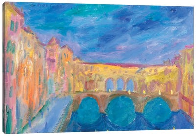 Evening In The Ponte Vecchio Canvas Art Print