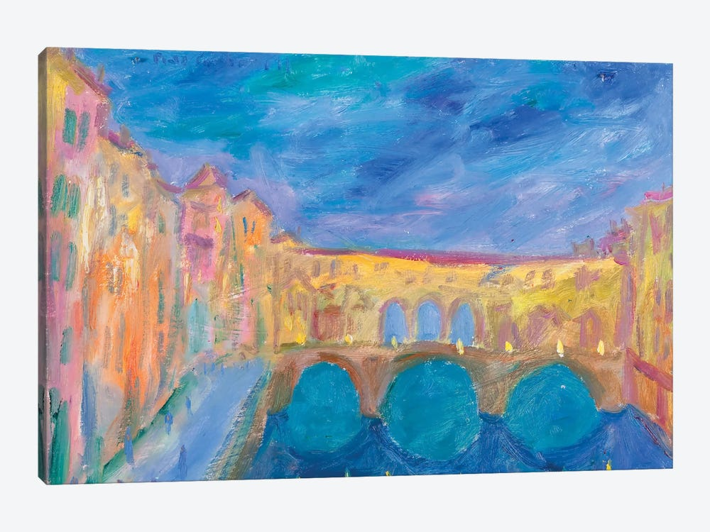 Evening In The Ponte Vecchio by Peris Carbonell 1-piece Canvas Artwork