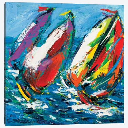 Four Sailboats Canvas Print #PER54} by Peris Carbonell Canvas Art Print