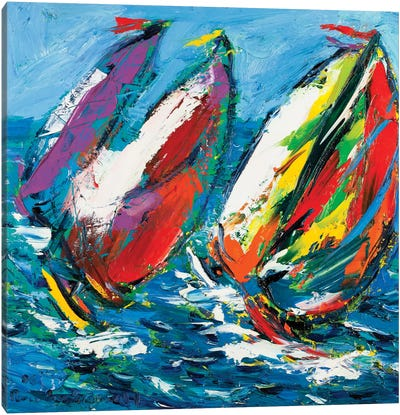 Four Sailboats Canvas Art Print