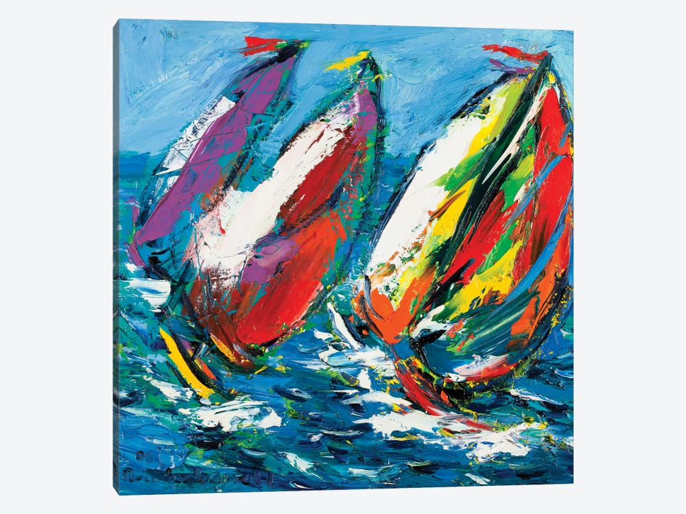 Four Sailboats by Peris Carbonell 1-piece Canvas Print