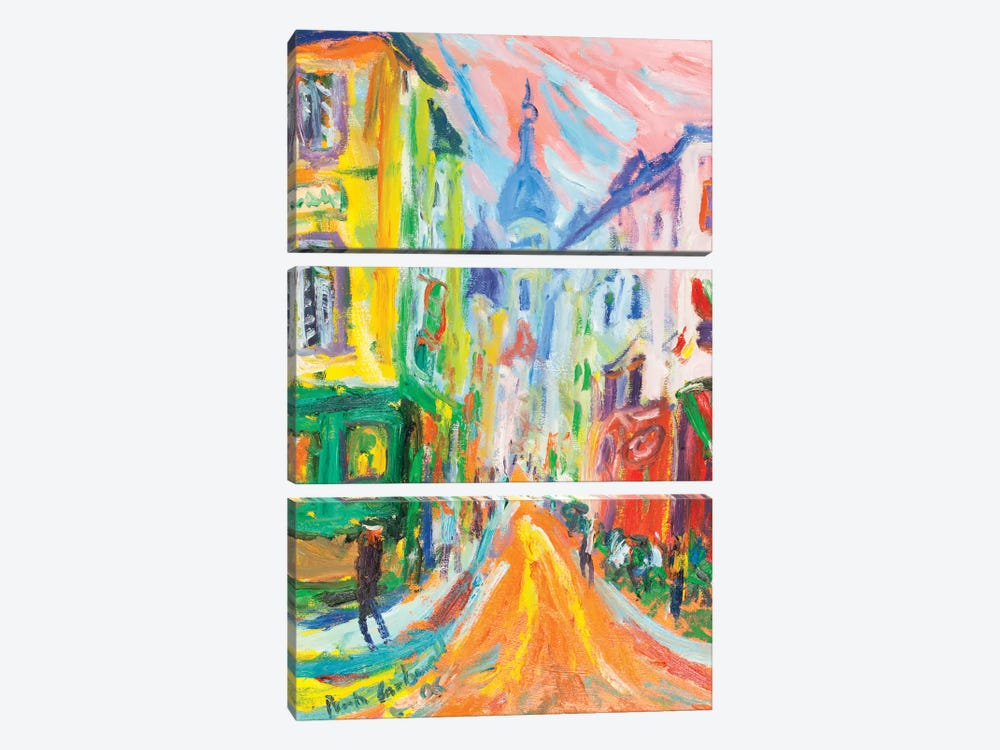 Montmartre And La Sacre Coeur, Paris by Peris Carbonell 3-piece Canvas Print