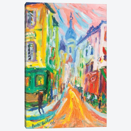 Montmartre And La Sacre Coeur, Paris Canvas Print #PER56} by Peris Carbonell Art Print
