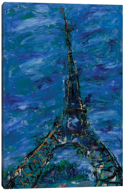 Sunset On The Eiffel Tower, Paris Canvas Art Print
