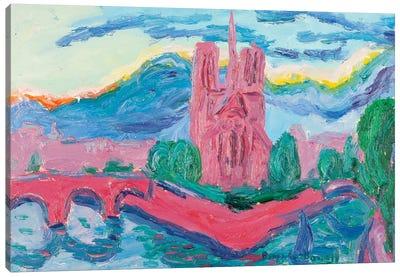 Sunset On The Seine, Paris Canvas Print #PER64
