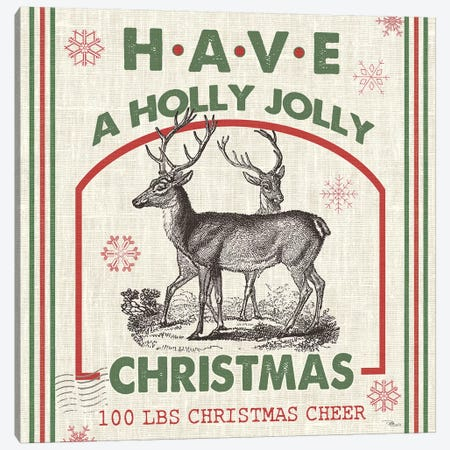 Have A Holly Jolly Christmas I Canvas Print #PES12} by Pela Studio Art Print