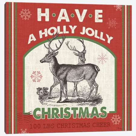 Have A Holly Jolly Christmas II 3-Piece Canvas #PES13} by Pela Studio Canvas Print