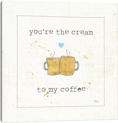 Coffee Cuties II Turquoise Heart v2 Canvas Art Print