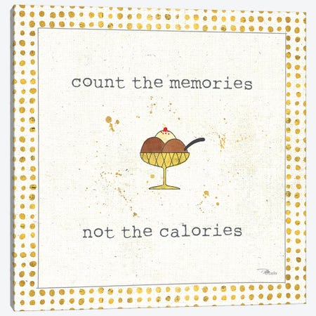Calorie Cuties VI Dot Border Canvas Print #PES16} by Pela Studio Canvas Wall Art