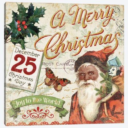 Vintage Christmas II Santa Canvas Print #PES63} by Pela Studio Canvas Artwork
