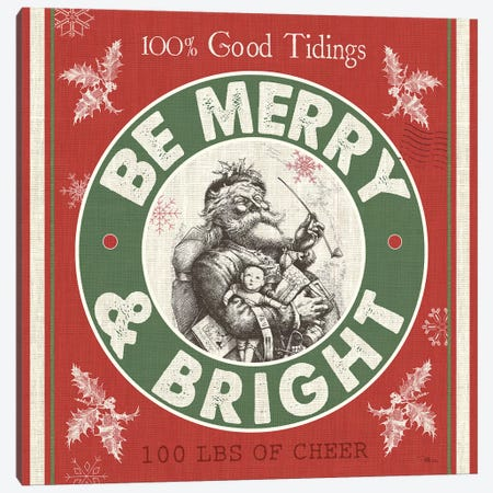 Be Merry & Bright II Canvas Print #PES9} by Pela Studio Art Print