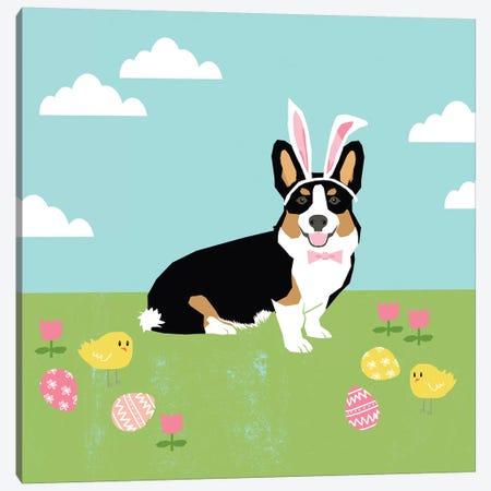 Corgi Tricolored Easter Canvas Print #PET100} by Pet Friendly Art Print
